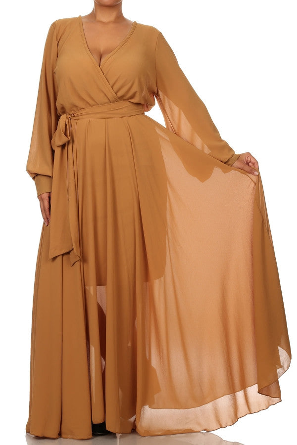 Bronze Belted Maxi Dress