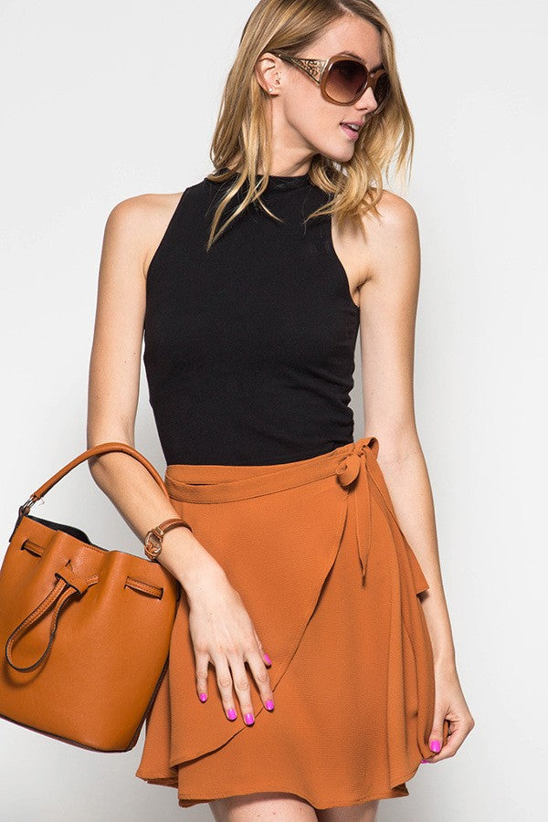 Wrap Up Mini Caramel Skirt