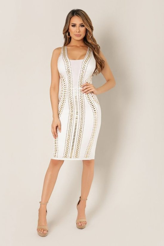 Blessed & Studded White Dress