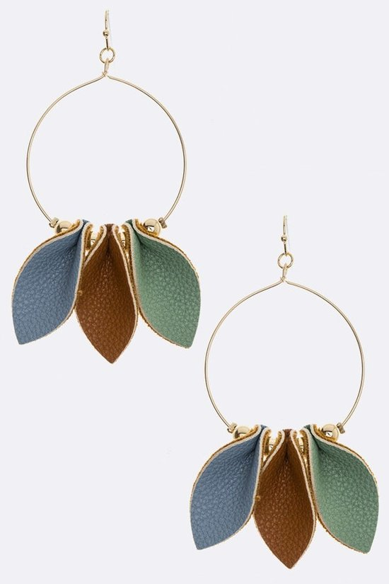 Mint, Blue, & Brown Leather Earring