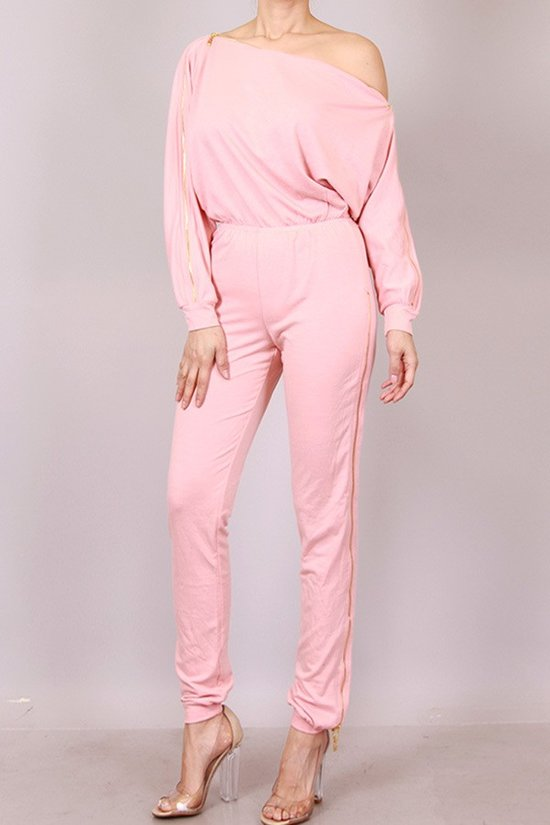Pink Zipped & Interchangeable Jumpsuit