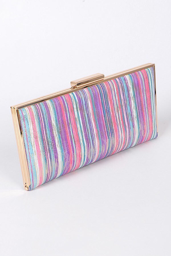 Pink Purple and White Striped Clutch
