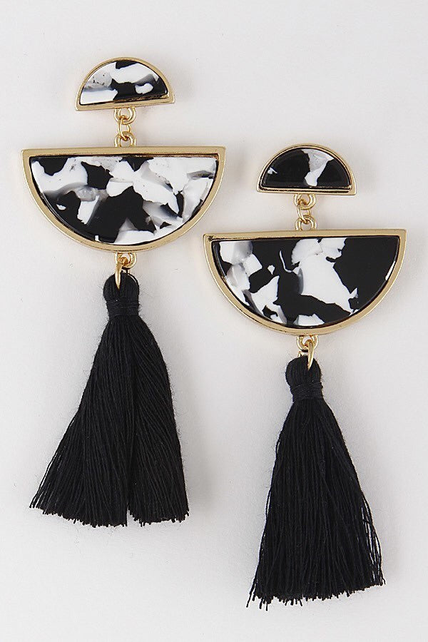 Gold and Black Tassel Earring