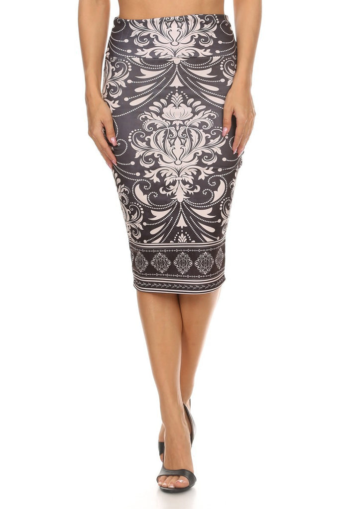 Print Cream and Charcoal Pencil Skirt