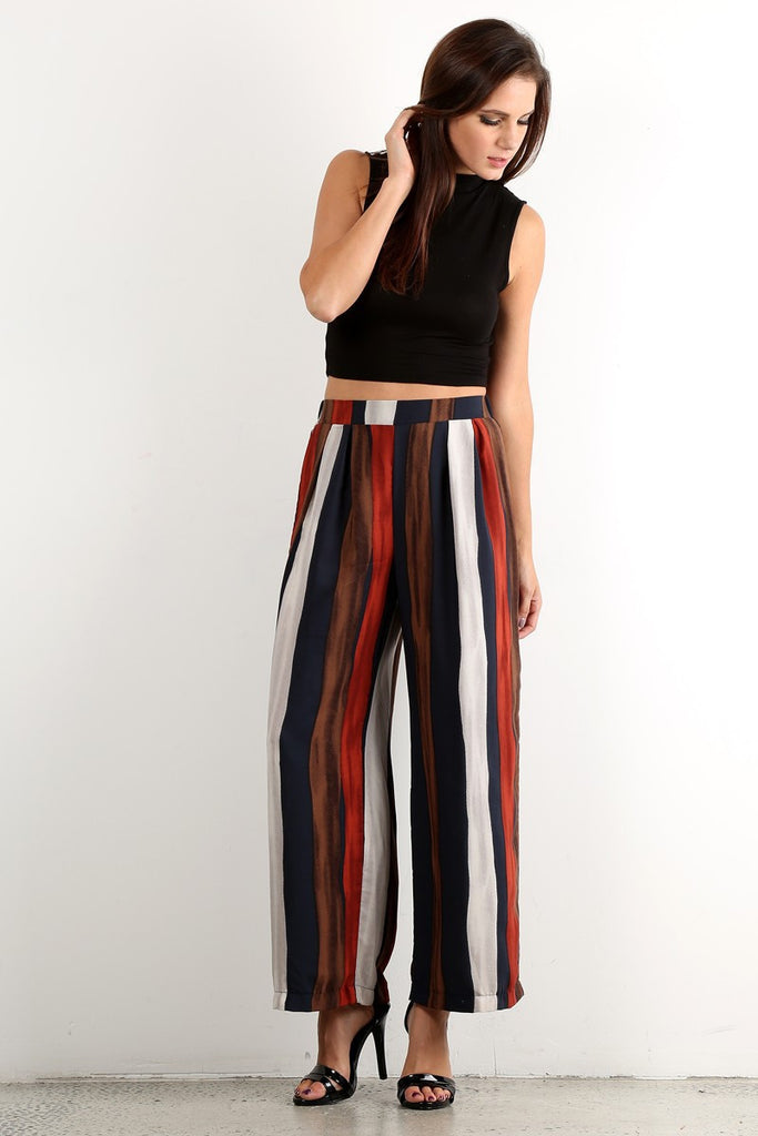 Brown Striped Pants
