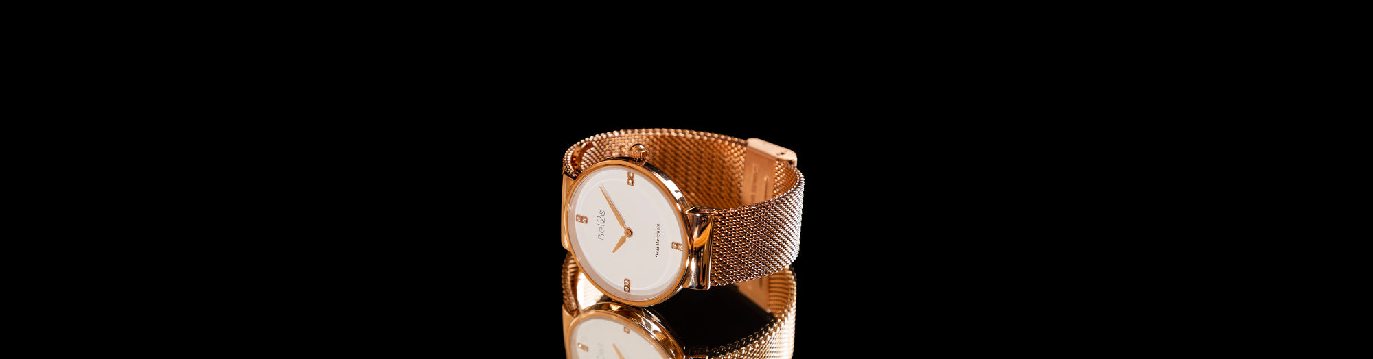 Ladies Watch with Rose Gold Case and White Dial