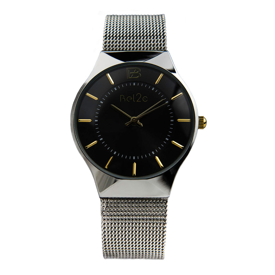Bel2c Lagom Black Watch with Black Dial and Milanese Strap