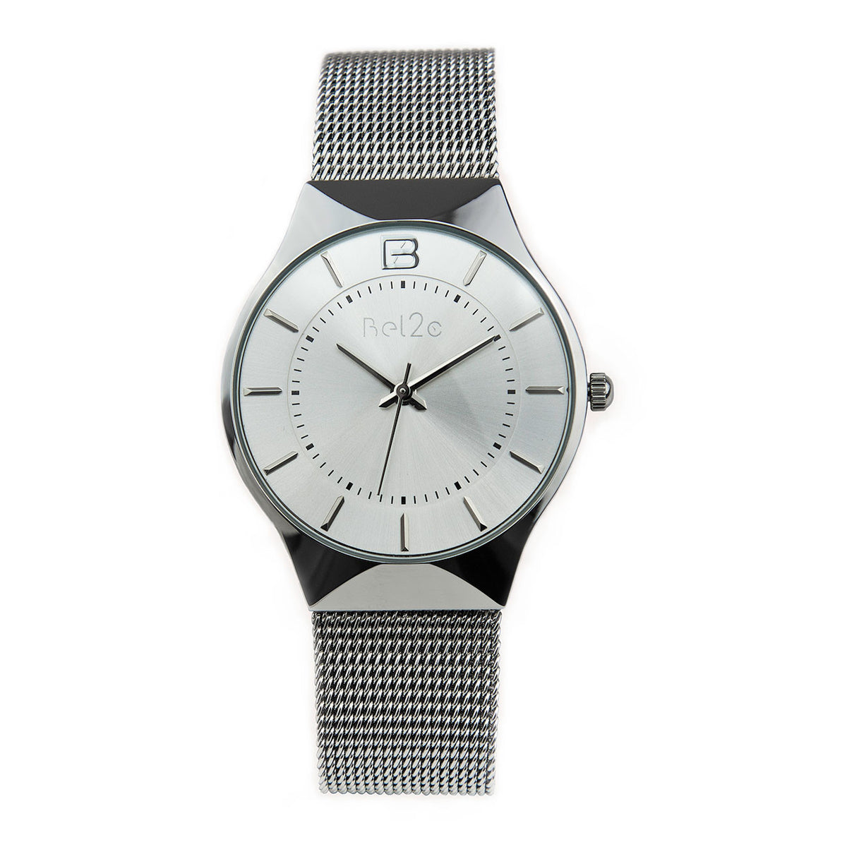 Bel2c Lagom Silver Watch with Silver Dial and Milanese Strap