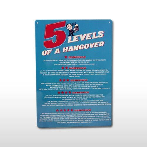 5 LEVELS OF A HANGOVER SIGN