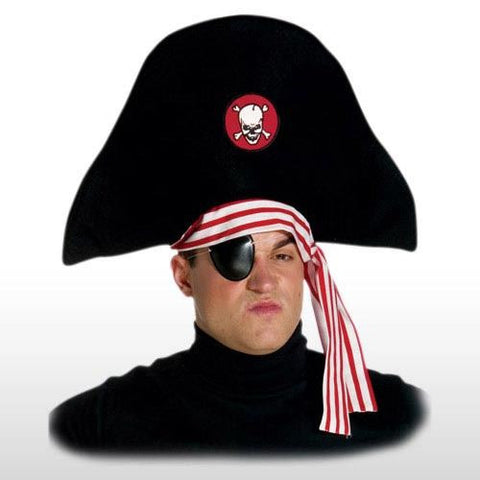 ADULT PIRATE HAT WITH EYE PATCH COSTUME