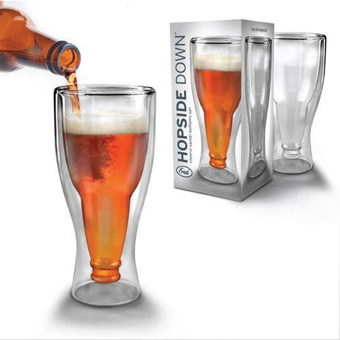 HOPSIDE DOWN BEER BOTTLE GLASS