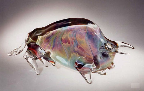 Murano glass bull in Calcedonio