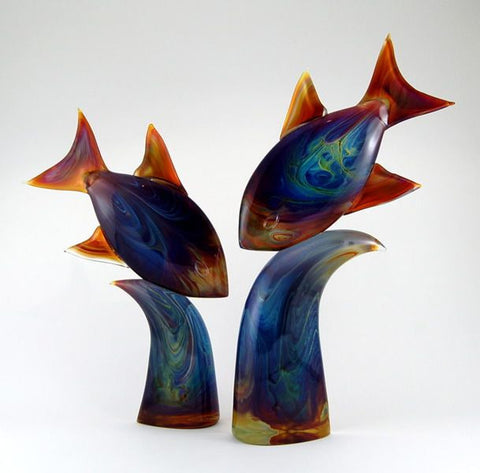 Murano glass fish in Calcedonio in two sizes