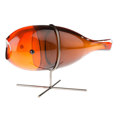 Modern orange Murano glass fish vase for a single bud