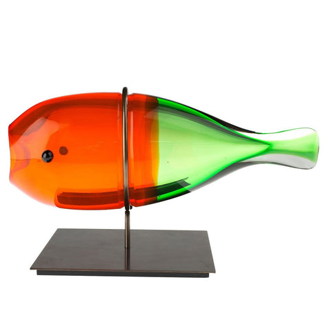 Modern orange & green Murano glass fish bud vase