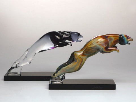 Murano glass leaping panthers