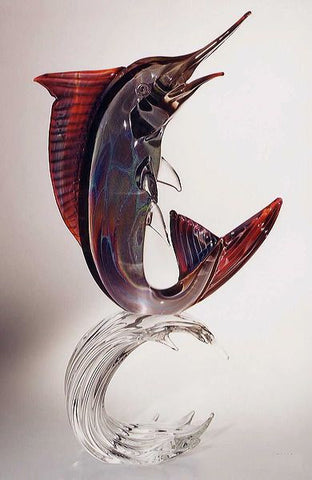 Murano glass marlin in Calcedonio glass