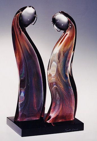 Murano glass abstract figures in Calcedonio glass