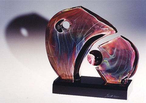 Murano glass abstract sculpture in Calcedonio glass
