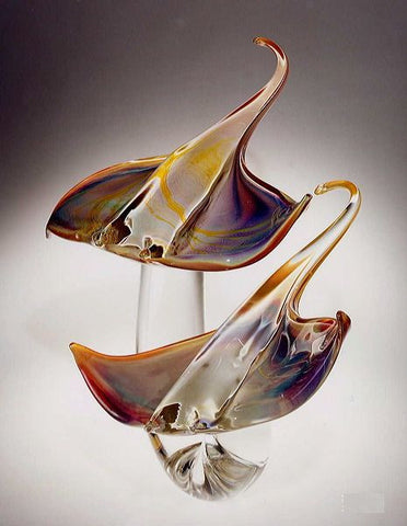 Murano glass stingrays in Calcedonio glass