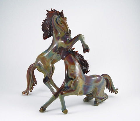 Pair of horses in Calcedonio glass