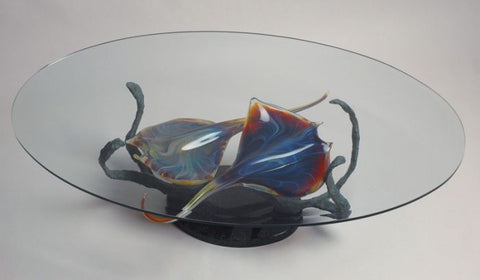 Murano glass coffee table with Calcedonio glass fish