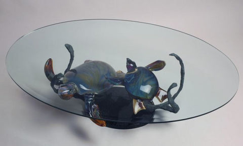 Murano glass coffee table with turtles in Calcedonio glass