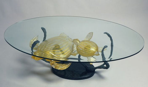 Murano glass coffee table with gold turtles