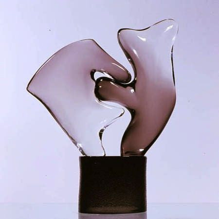 Murano glass abstract sculpture in' Northern Lights' blue