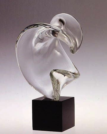 Murano glass abstract 'curl' sculpture