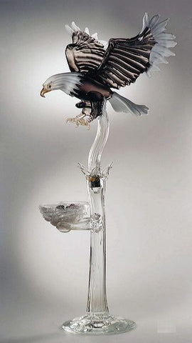 Murano glass eagle and nest with eggs