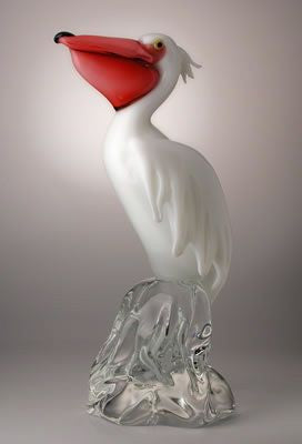 Murano glass pelican with pink glass beak