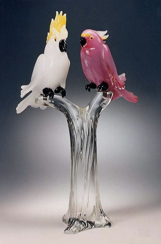 Murano glass parrots in white and pink