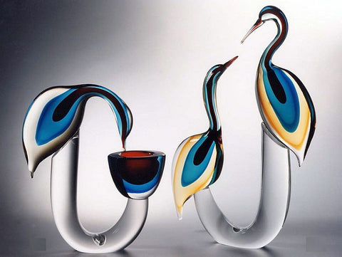 Murano glass herons