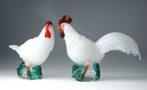 Murano glass hen and cockerel