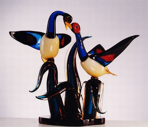Murano glass ducks on a 'seaweed' base