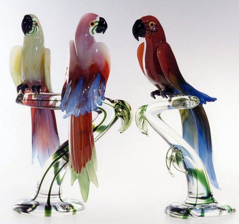 Murano glass trees with parrots