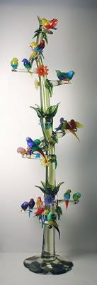 Murano glass tree with 21 birds