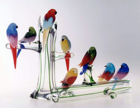 Murano glass garden birds