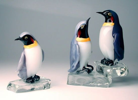Colourful penguins on ice