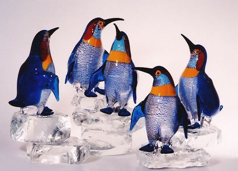 Murano glass penguins on ice