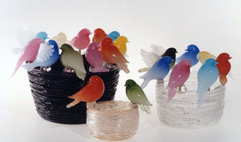 Nests with colourful garden birds