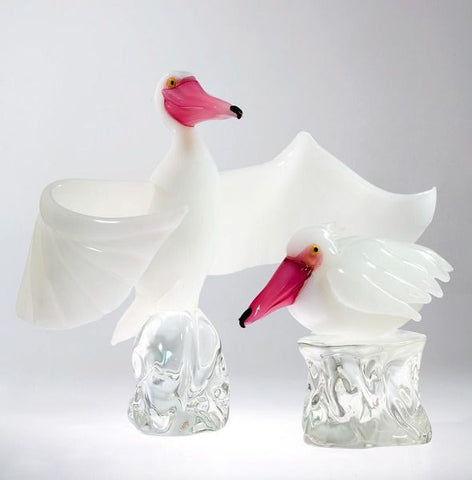 Murano glass pelicans with millefiori