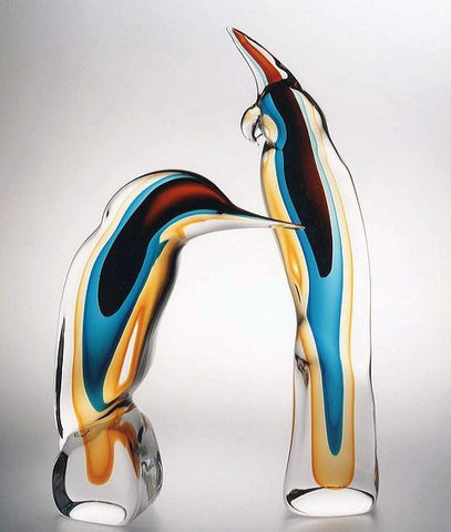Murano glass woodpecker and parrot