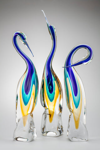 Set of three Murano glass herons