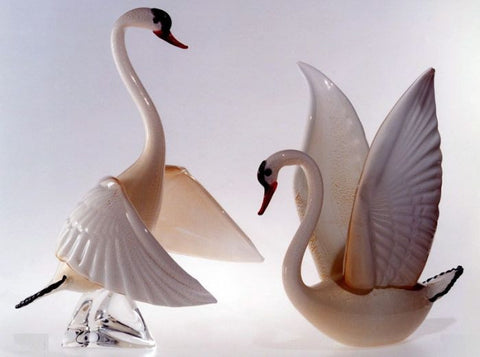 Pair of Murano glass swans