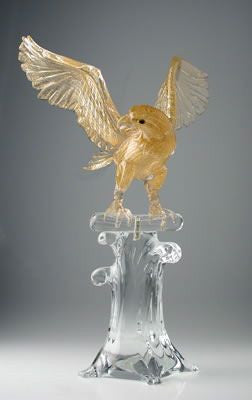 Murano glass gold falcon on a crystal base