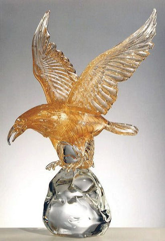 Murano glass eagle with 24 carat gold