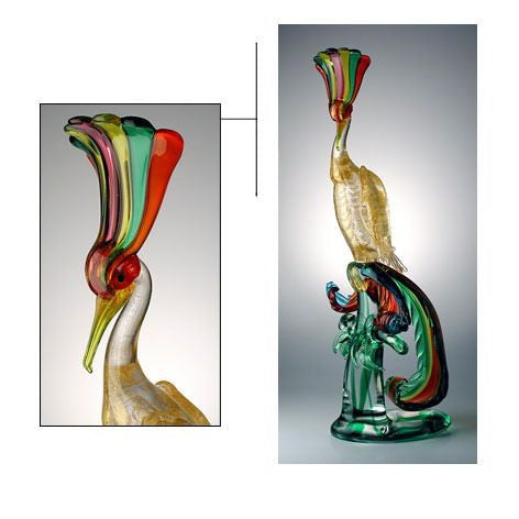Murano glass Bird of Paradise