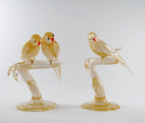 Murano glass garden birds in gold